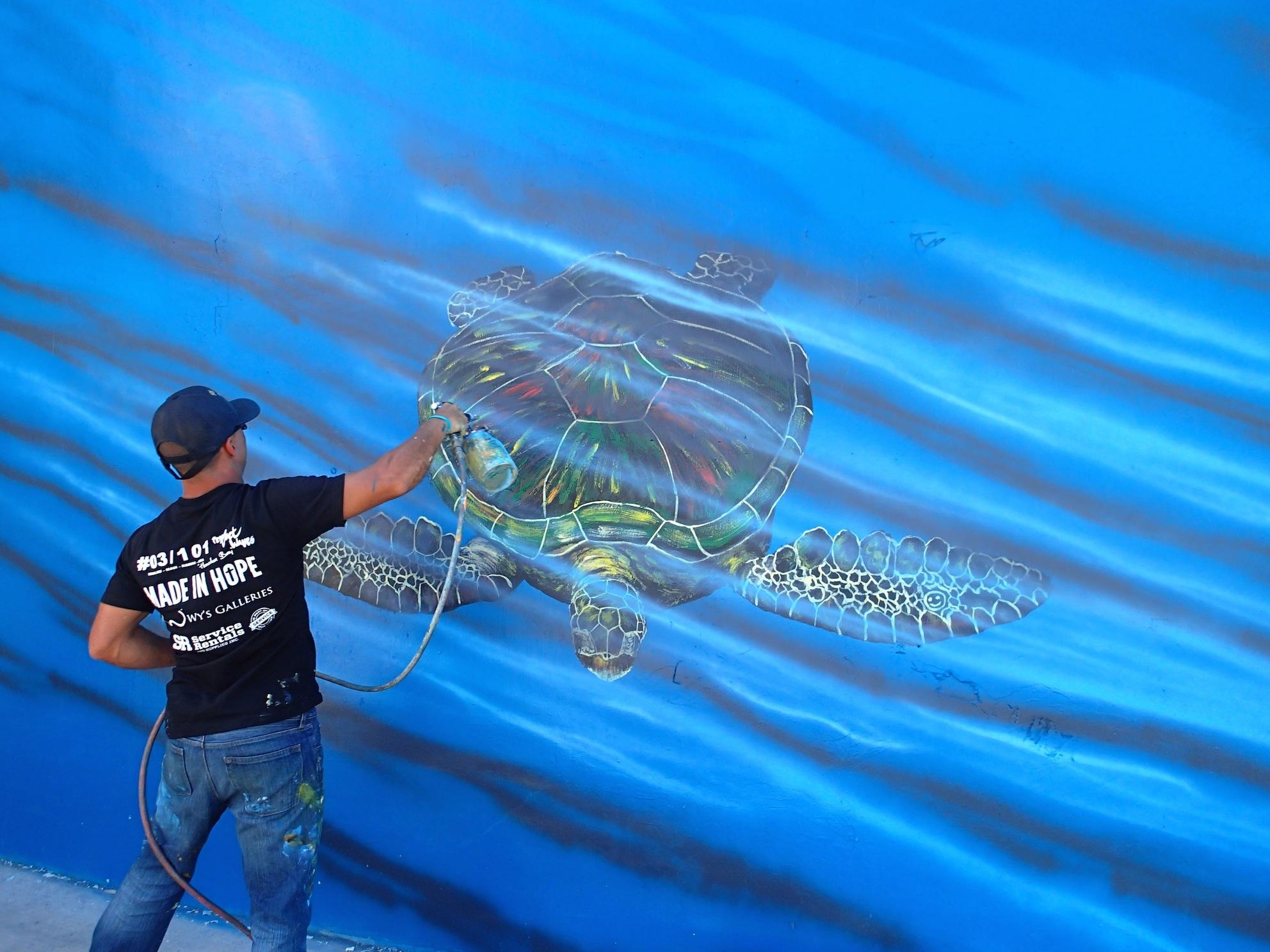 Hilton Turtle 2 Mural Hilton Alves Paints 3rd Perfect Wave Mural of 101
